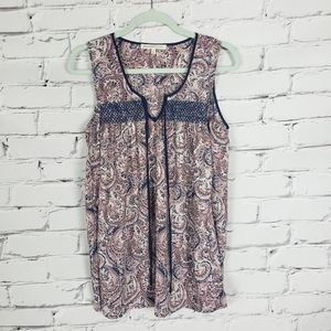 Anthropologie Purple and Blue Print Sleeveless Top